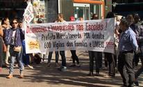 Professores da rede municipal fazem ato contra demissão de vigias em BH (Reprodução/TV Globo)