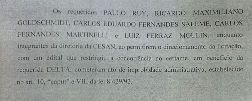 Trecho da decisão da juíz que menciona os envolvidos (Foto: Reprodução)