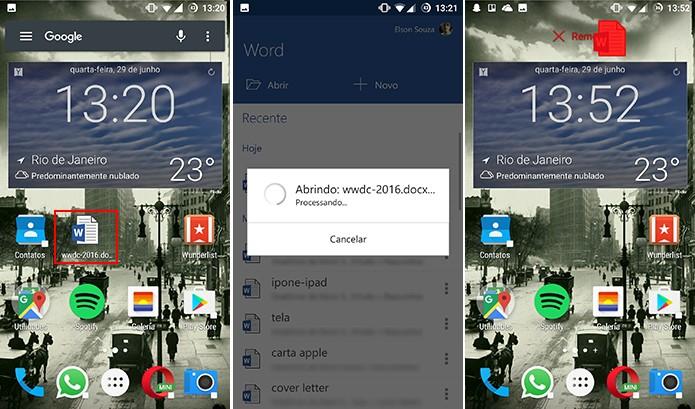 Atalhos do Office para Android podem ser removidos como qualquer outro app (Foto: Reprodução/Elson de Souza)