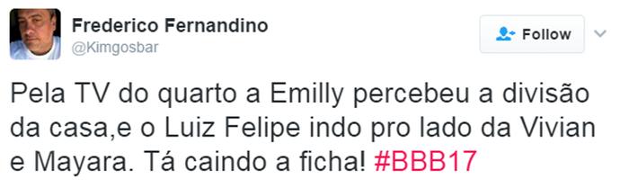 Tweet Luiz Felipe (Foto: Reprodução da Internet)
