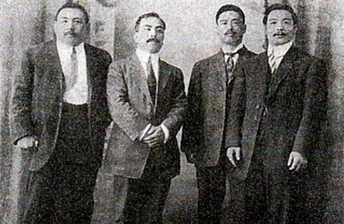 Grupo de lutadores japoneses que chegaram a Manaus em 1915 (Foto: Divugação)