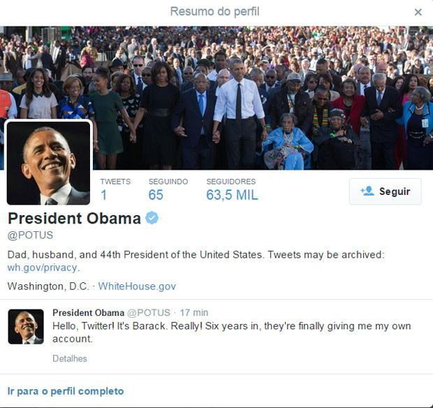 Primeiro post de Barack Obama (Foto: Reprodução/Twitter/POTUS)