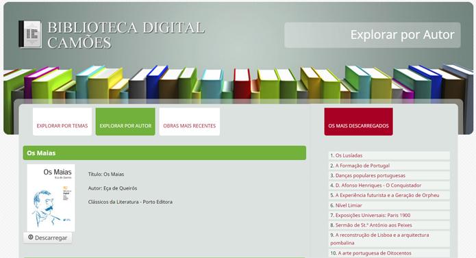 Variada e bem organizada, biblioteca digital do Instituo Camões é uma das melhores opções disponíveis para língua portuguesa (Foto: Reprodução/Filipe Garrett)