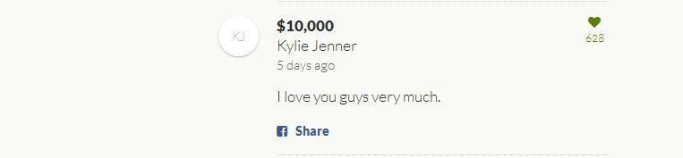 """""""Amo tanto vocês"""", escreveu Kylie ao doar U$ 10 mil (Foto: Reprodução)"""