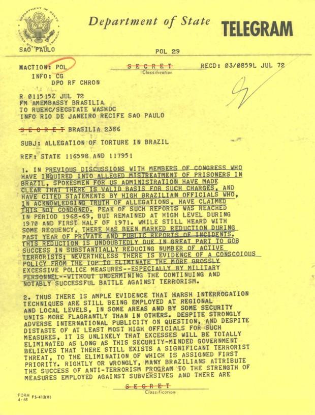 Telegrama da Embaixada de Brasília relata casos de tortura no Brasil (Foto: Reprodução/Department of State/Comissão da Verdade)
