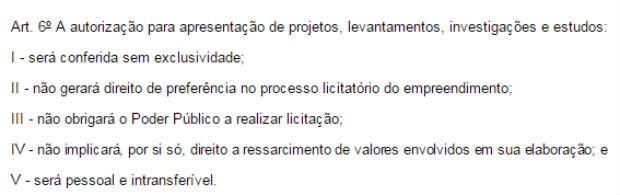 Trecho de decreto da presidente Dilma Rousseff que estabelece regras para o Procedimento de Manifestação de Interesse (PMI) (Foto: Reprodução)