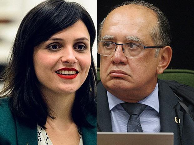 Monica Iozzi e Gilmar Mendes (Foto: Ramon Vasconcelos/Globo e Carlos Humberto/SCO/STF)