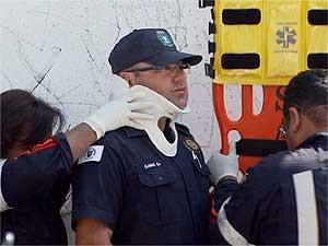Guarda Municipal de Campinas é atendido após acidente no Jardim São Vicente (Foto: Reprodução EPTV)