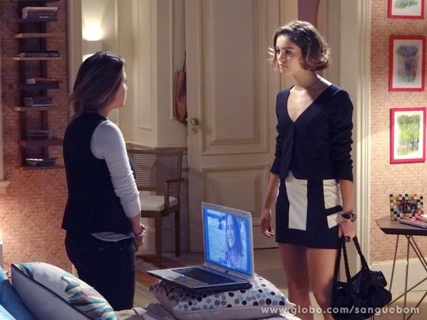 Malu manda a real para Amora sobre o que sente por Bento (Foto: Sangue Bom/TV Globo)