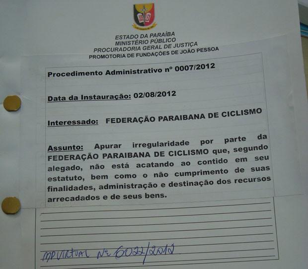 documento do ministério público que investiga a federação paraibana de ciclismo (Foto: Larissa Keren / Globoesporte.com/pb)