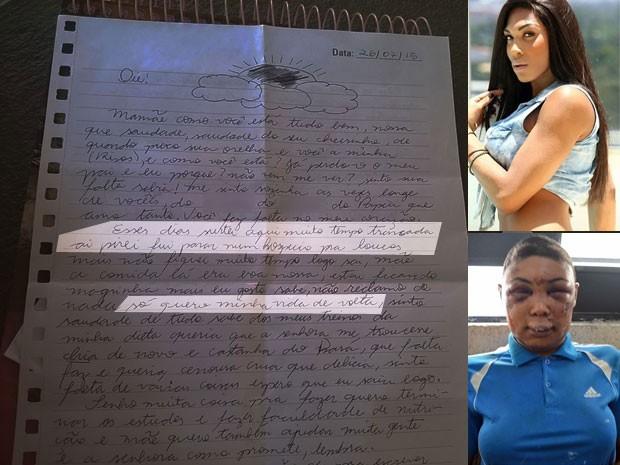 Carta escrita por Verônica Bolina, que aparece nas fotos ao lado: antes e depois da prisão; mãe da transexual afirmou que ainda não teve coragem de visitar a filha na prisão (Foto: Divulgação/Montagem/Reprodução Facebook/Defensoria Pública de SP)