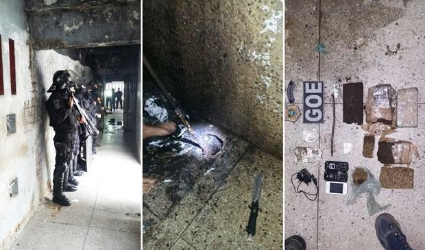 Intervenção foi realizada pelos agentes do GOE, que encontraram pelo menos 4 quilos de drogas e três aparelhos celulares dentro da Cadeia Pública de Natal (Foto: G1/RN)