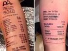 Lista reúne tatuagens de recibos e outras apostas absurdas
