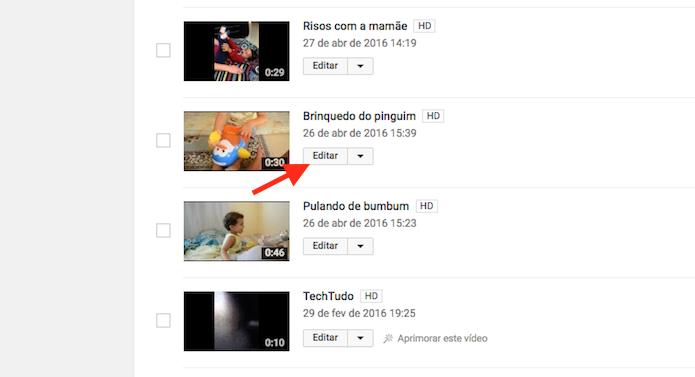 Acessando a edição para um vídeo do YouTube (Foto: Reprodução/Marvin Costa)
