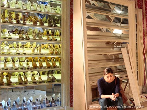 Antes e depois! Amora sofre horrores ao encontrar seu antigo closet sem sapato algum. Veja na imagem como era o espaço, recheado de glamour, e agora, com a própria lamentado ter perdido tudo. Que pena, it-girl... (Foto: Sangue Bom / TV Globo)