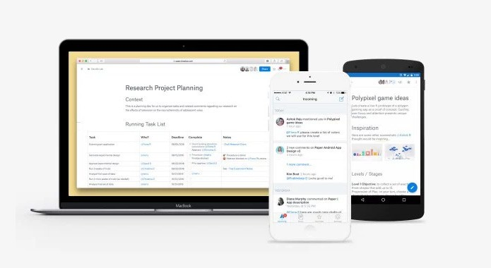 Paper está presente na web e em apps mobile (Foto: Reprodução/Blog do Dropbox)