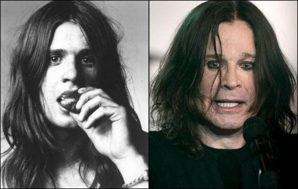 Será que o satanismo envelhece além da conta? O príncipe das trevas, Ozzy Osbourne, ficou bem detonado da década de 70 para a atualidade. O metaleiro está com 65 anos. (Foto: Divulgação e Getty Images)