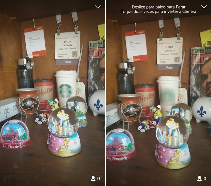 Periscope exibirá que usuário está ao vivo, o número de espectadores e permite que câmera seja invertida com gestos (Foto: Reprodução/Elson de Souza)