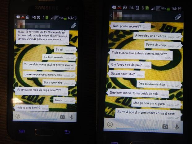Mensagens no telefone de Leandro Nobrega Martins, divulgadas pela polícia, relatam parte da briga entre torcedores (Foto: Divulgação/Polícia Civil)