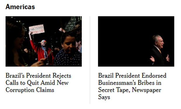 A resistência de Temer foi destaque no New York Times (Foto: Reprodução/NYT)