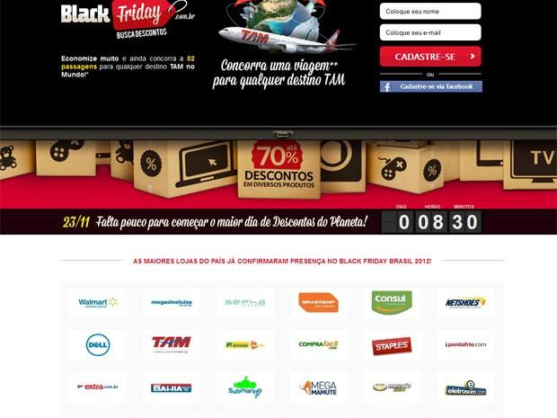 Portal Busca Descontos reúne as lojas virtuais participantes da 'Black Friday' no Brasil (Foto: Reprodução)