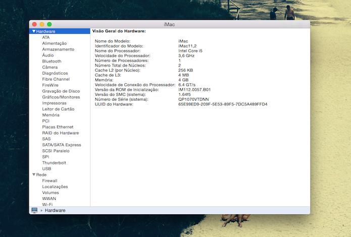Relatório do Sistema do Mac OS X (Foto: Reprodução/Marvin Costa)