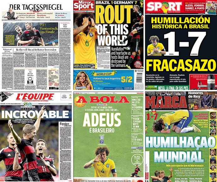 Montagem capas Jornais derrota Brasil (Foto: Reprodução)