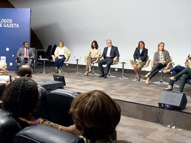 Debate aconteceu no auditório da Rede Gazeta, em Vitória (Foto: Reprodução/ TV Gazeta)