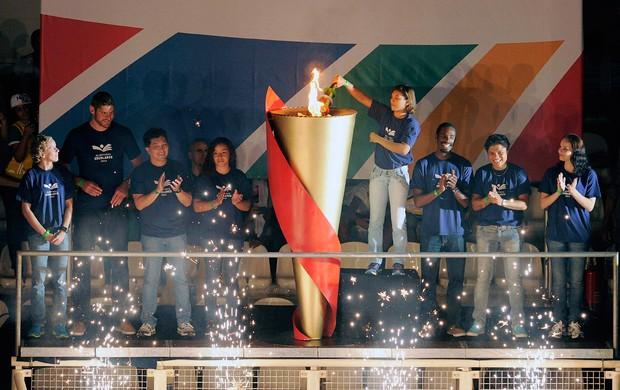 Cerimonia de abertura das Olimpiadas Escolares em Cuiaba (Foto: Fernando Soutello / AGIF / COB)