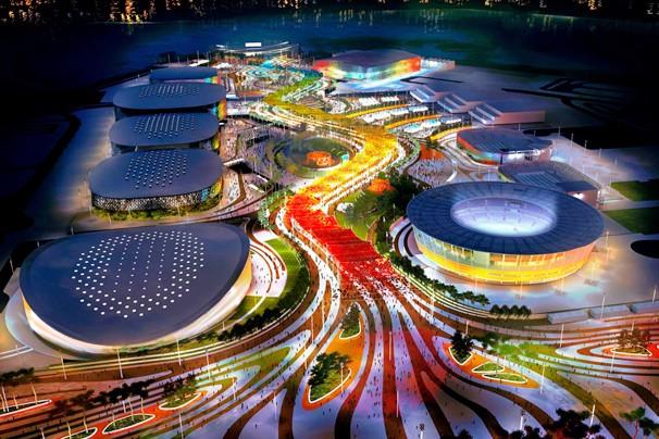 Imagem de como vai ficar o Parque Olímpico da Barra, que vai receber 15 modalidades esportivas (Foto: AECOM)