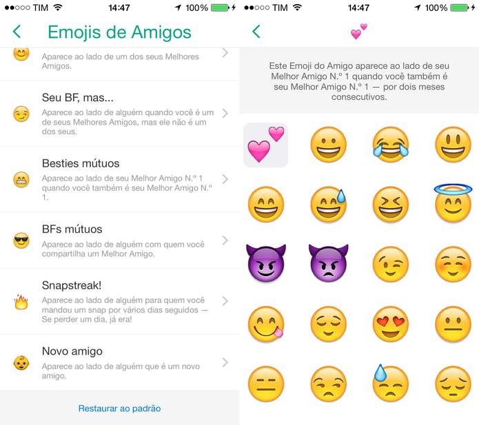 Clique no tipo de amigo e selecione um novo emoji para ilustrá-lo (Foto: Reprodução/Juliana Pixinine)