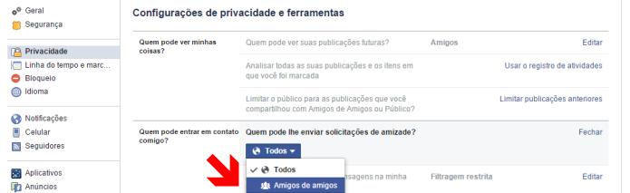 Restringindo o público que pode te adicionar no Facebook (Foto: Reprodução/Lívia Dâmaso)
