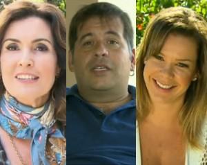 Fátima Bernardes, Leandro Hassum e Fernanda Souza (Foto: Domingão do Faustão / TV Globo)