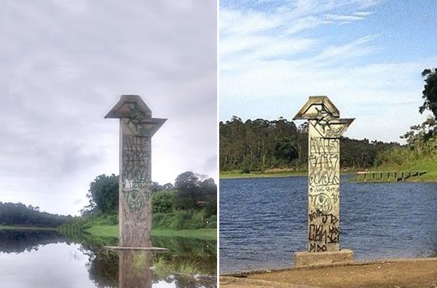 Foto da esqueda foi feita em março de 2014. Em agosto (foto à direita), água recua e deixa mais vísivel marco do DER na represa do Rio Jundiaí, em Mogi das Cruzes (Foto: Maiara Barbosa/ G1 e Larrisa Cardoso/arquivo pessoal)