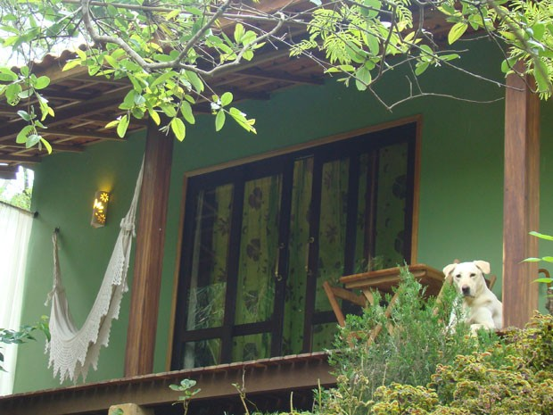 Cachorro na pousada Encanto da Bocaina, certificada com selo pet friendly (Foto: Lu Azevedo/Divulgação)