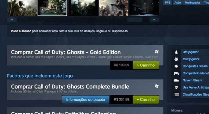 Call of Duty Ghosts no Steam (Foto: Reprodução/Felipe Vinha)