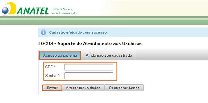 Faça o login no site da Anatel (Foto: Reprodução/Barbara Mannara) (Foto: Faça o login no site da Anatel (Foto: Reprodução/Barbara Mannara))
