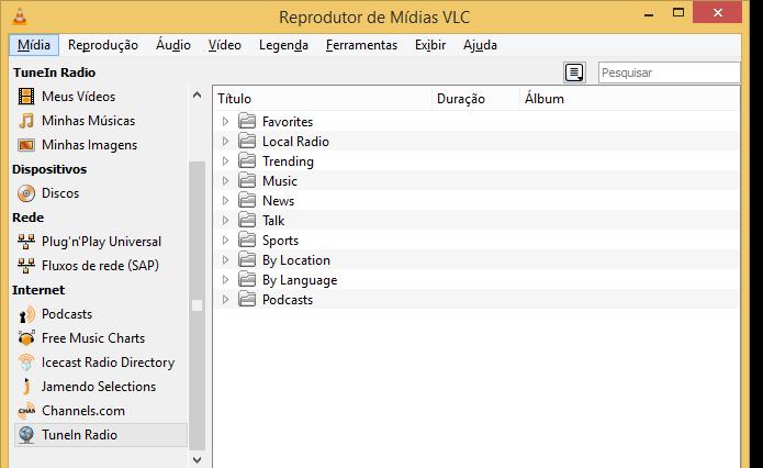 TuneIn Radio dentro do VLC (Foto: Reprodução/Edivaldo Brito)