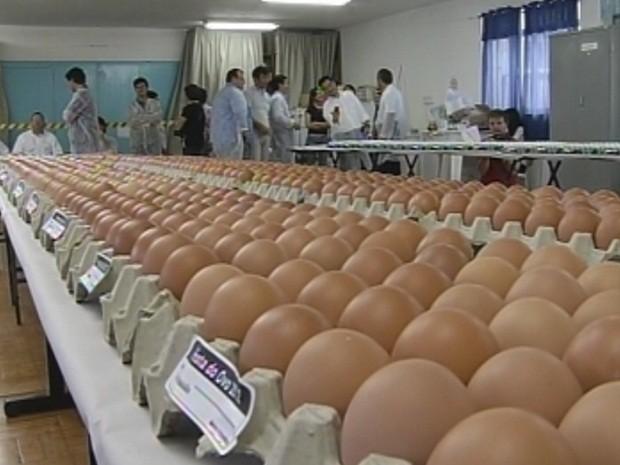 Cerca de 9 mil ovos foram avaliados no concurso (Foto: Reprodução/TV TEM)