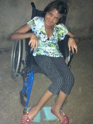 Deficiente, Ana Maria Monteiro do Amaral foi diagnosticada com câncer em Goiás (Foto: Tiago Moura/ Arquivo Pessoal)