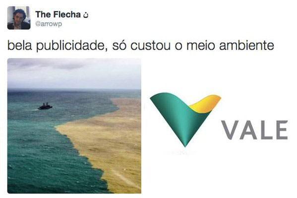 Internautas associam imagem de lama no mar a logo da Vale (Foto: Reprodução/The Flecha/Twitter)