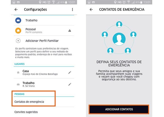 Adicione os contatos de emergência no Uber pelo celular (Foto: Reprodução/Barbara Mannara)
