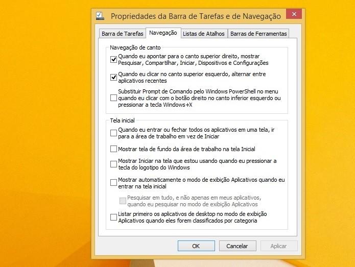Personalize as opções da barra de tarefas (Foto: Thiago Barros/Reprodução)