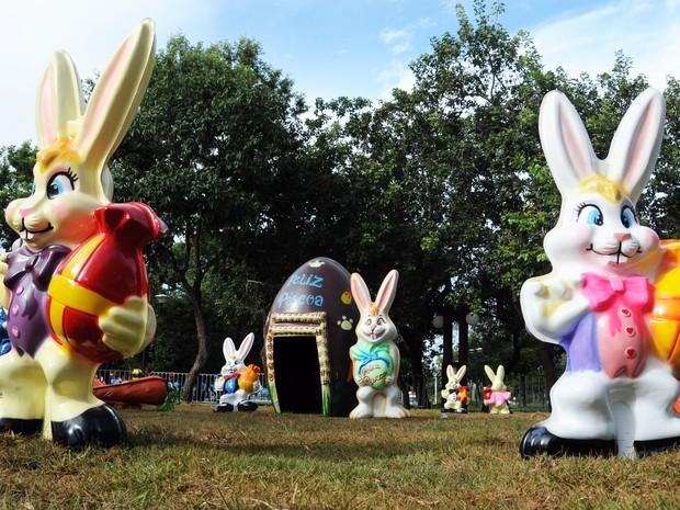 G1 Canteiros e rotatórias de Palmas recebem decoraç u00e3o para a páscoa notícias em Tocantins -> Decoração De Pascoa Jardim