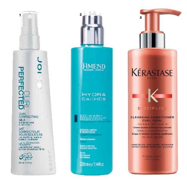 1. Curl Perfected Correcting Milk, Joico, R$ 218  2. Condicionador Higienizante, Amend, R$ 28  3. Shampoo Light Pool Discipline Curl Ideal, Kérastase, R$ 175 (Foto: Jonas Bresan)