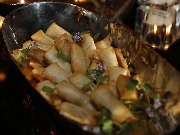Croustillant de pato com chutney de maçã é o prato principal servido no evento (Foto: Ellen Soares / Gshow)