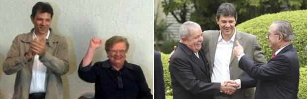 Haddad com Erundina quando ela foi anunciada como vice na chapa encabeçada por ele; à dir., o pré-candidato com Lula e Maluf (Foto: Roney Domingos / G1 e Agência Estado)