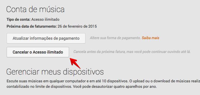 Cancelando assinatura do Google Play Música (Foto: Reprodução/Helito Bijora)