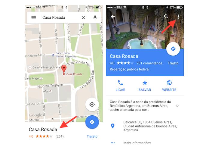 Acessando as opções para um local no Google Maps para iPhone (Foto: Reprodução/Marvin Costa)