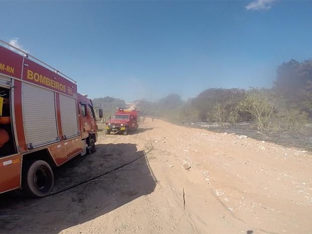 Três carros de combate ao fogo do corpo de bombeiros foram enviados ao local (Foto: Muriú Mesquita/G1 )